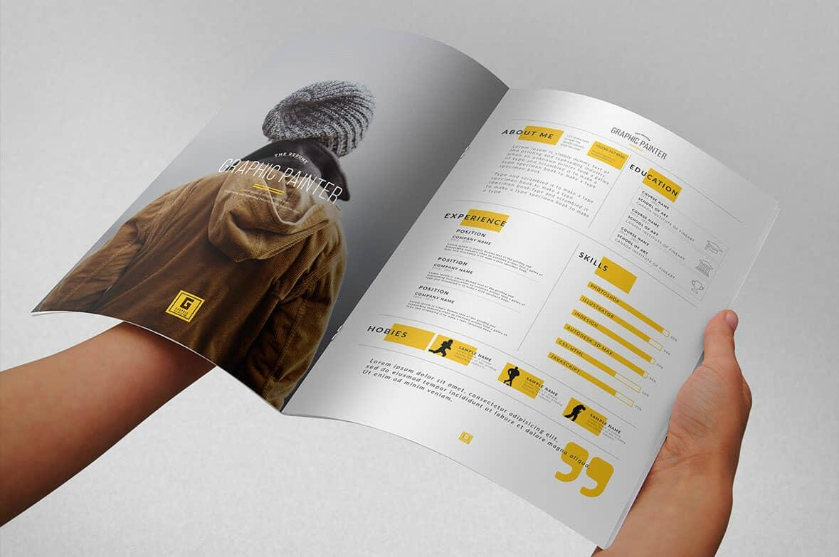 creative graphic designer resume in brochure format