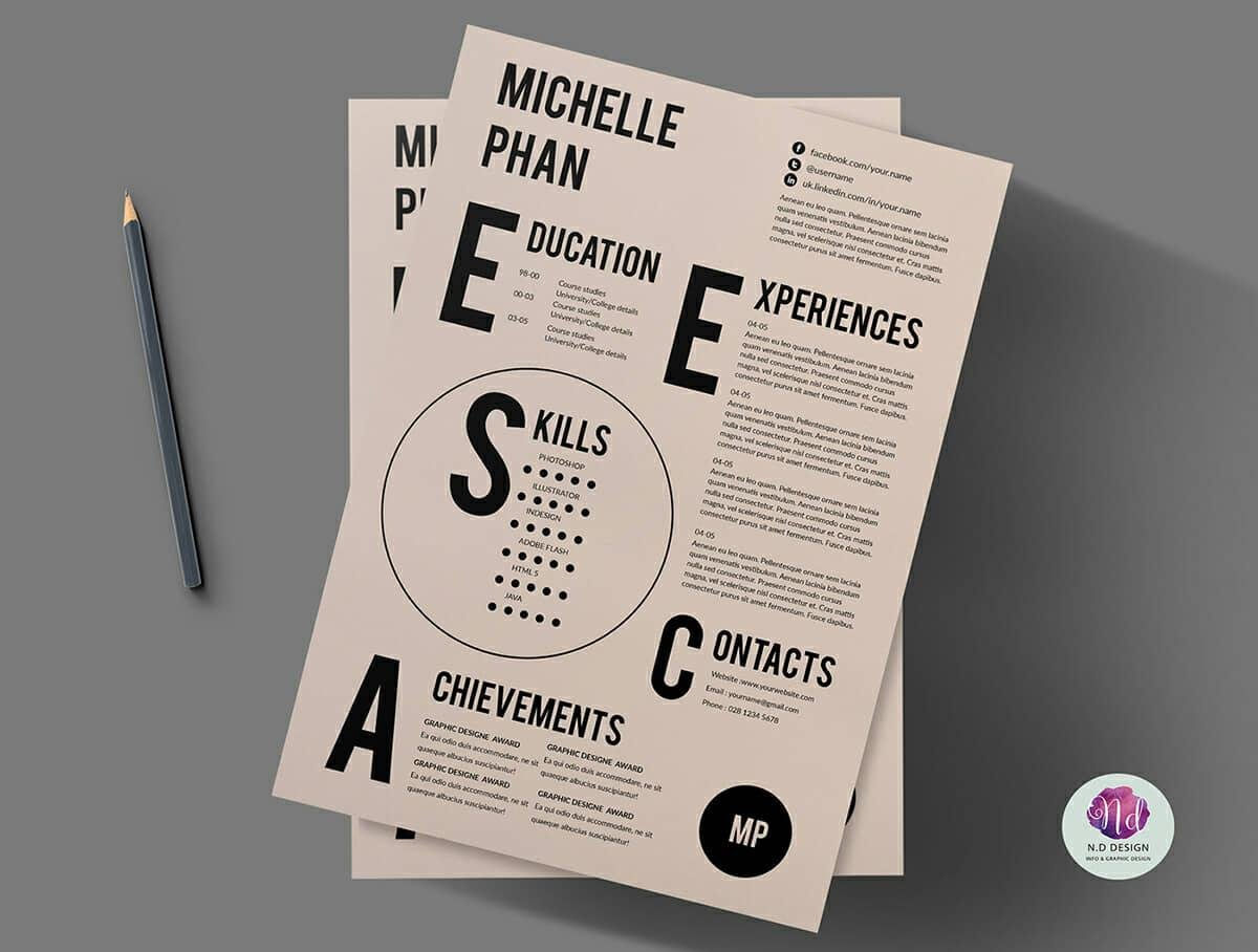 bold and creative resume with spaced out sections