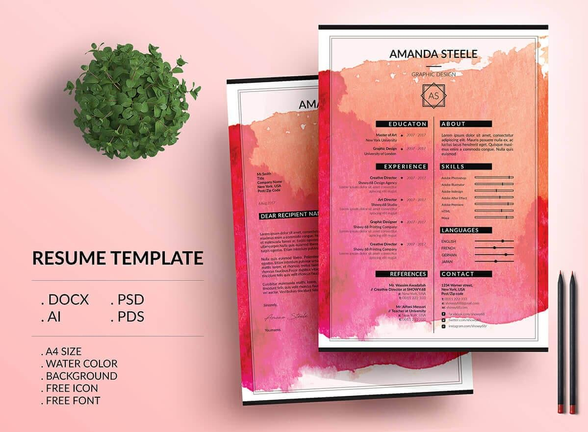 Creative And Colorful Resume With Watercolor Background