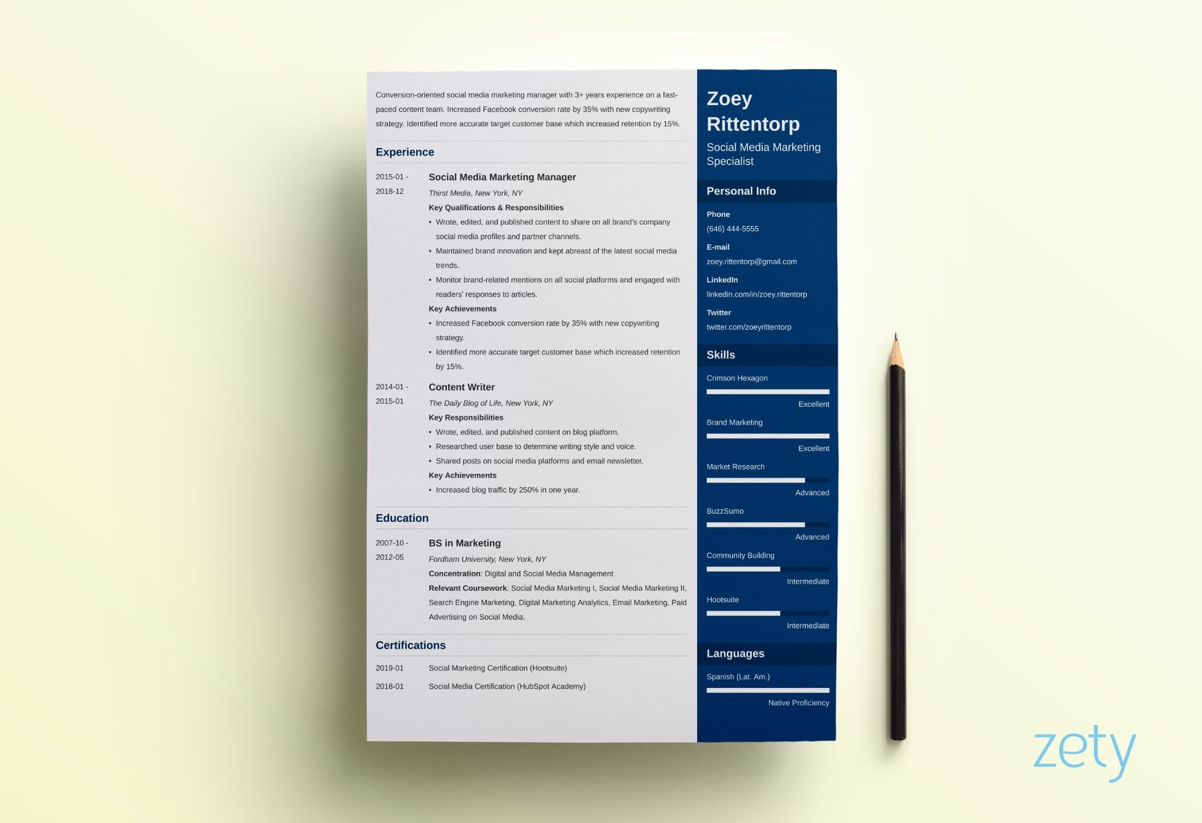 sample creative resume template