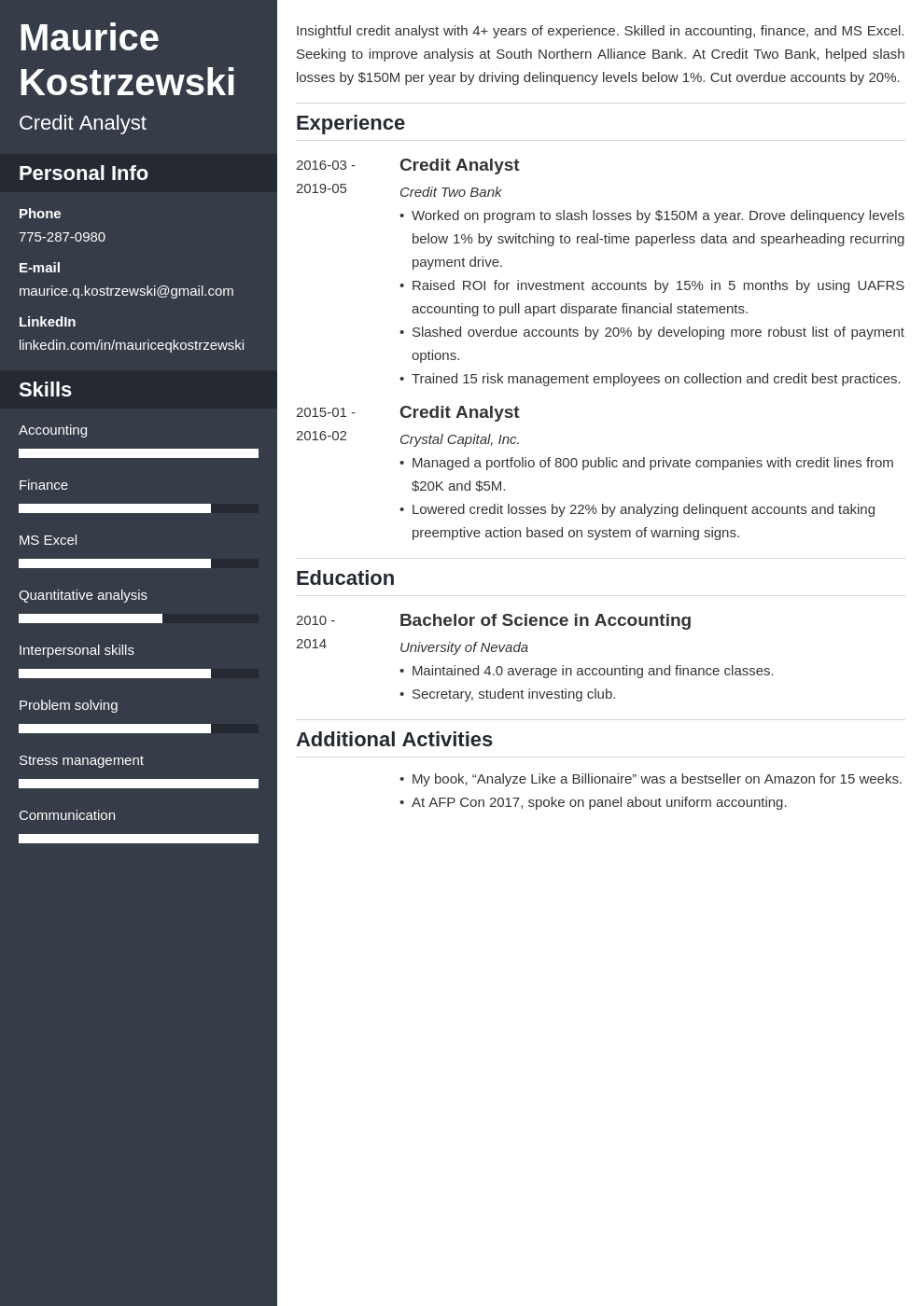 credit analyst resume example template cascade