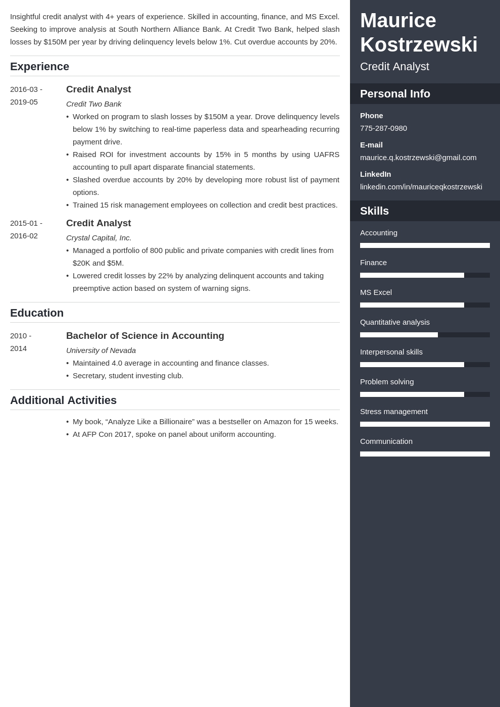 credit analyst resume example template enfold