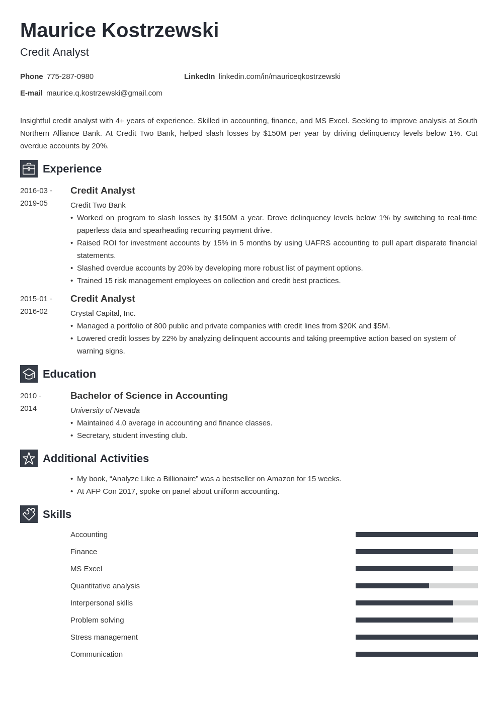 credit analyst resume example template newcast