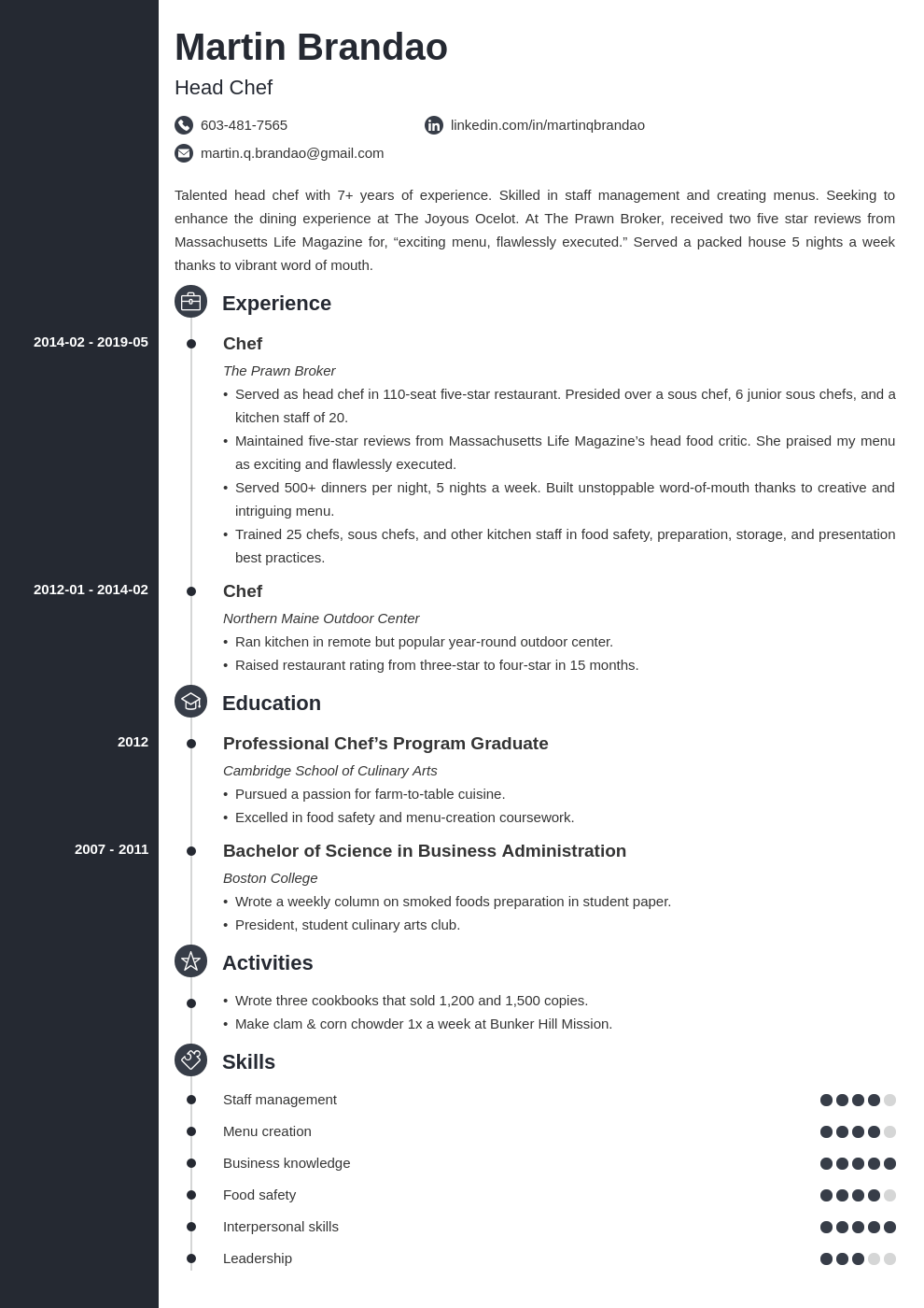 culinary resume example template concept