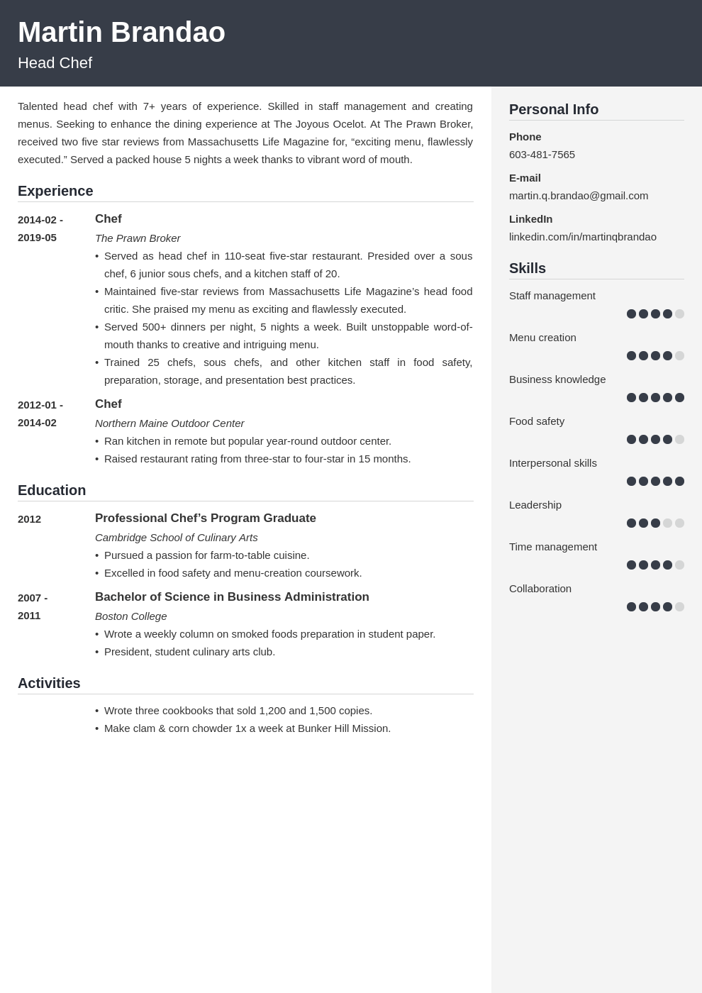 culinary resume example template cubic