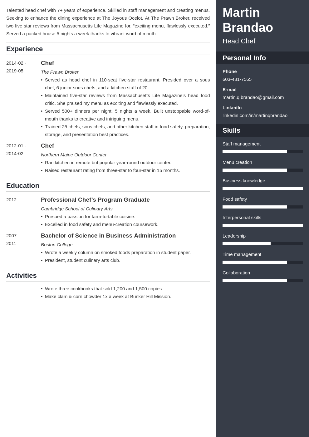 culinary resume example template enfold
