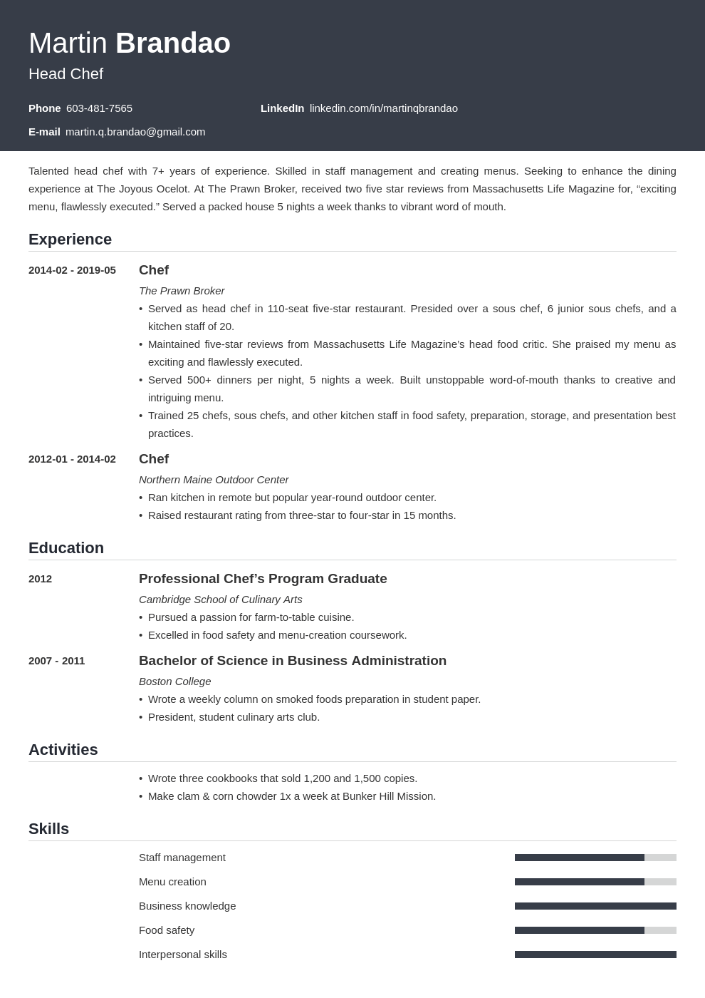culinary resume example template influx