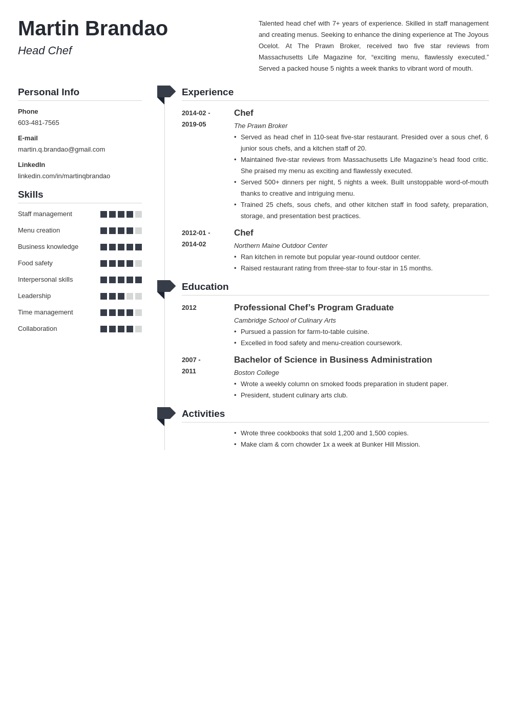 culinary resume example template muse