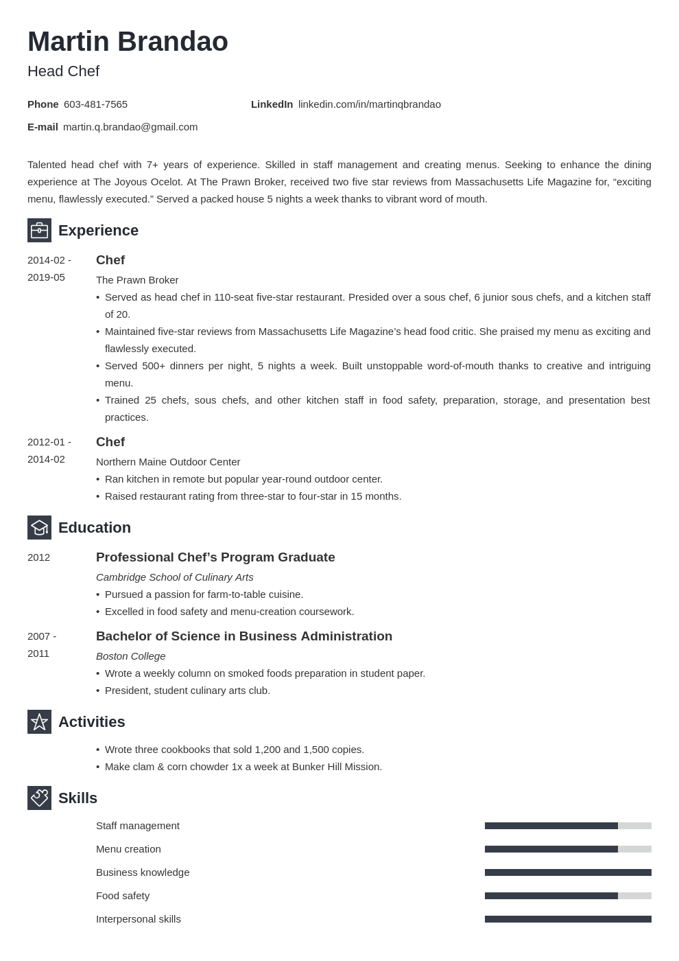 culinary resume example template newcast