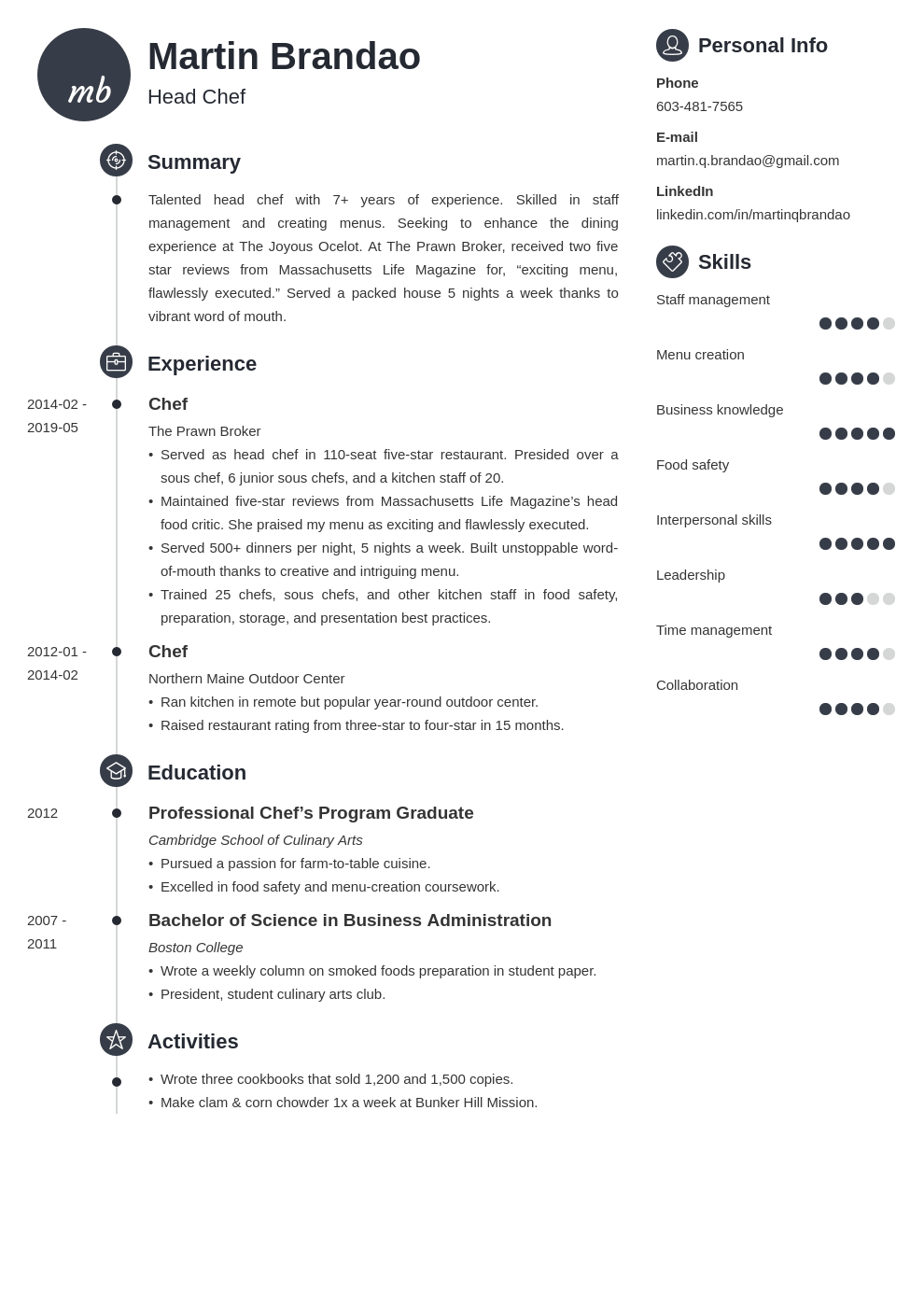 culinary resume example template primo
