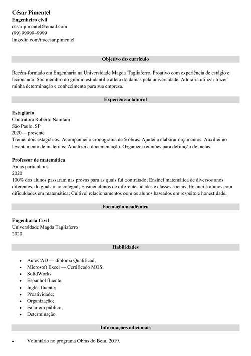 curriculo simples preencher