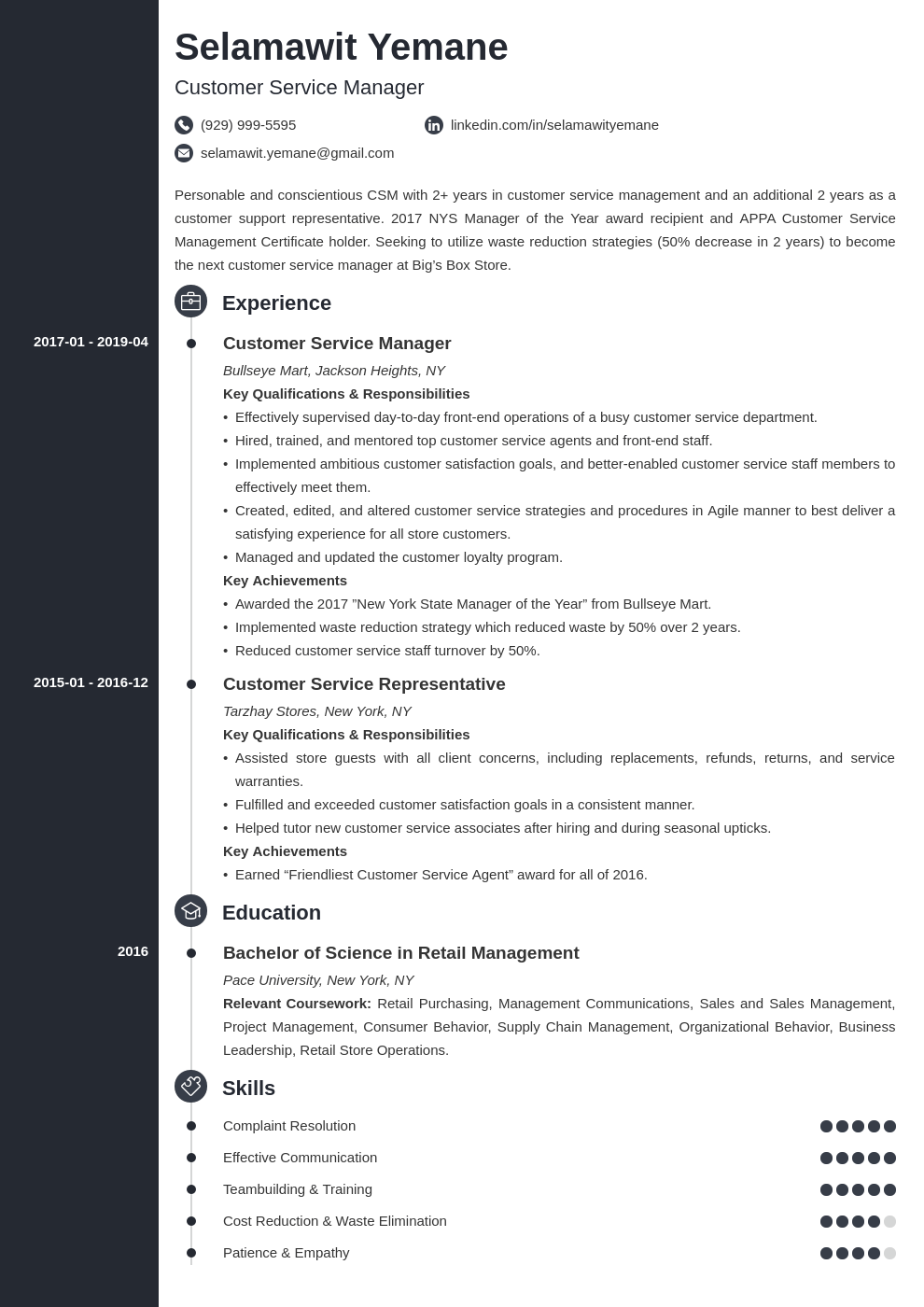 customer service manager resume example template concept