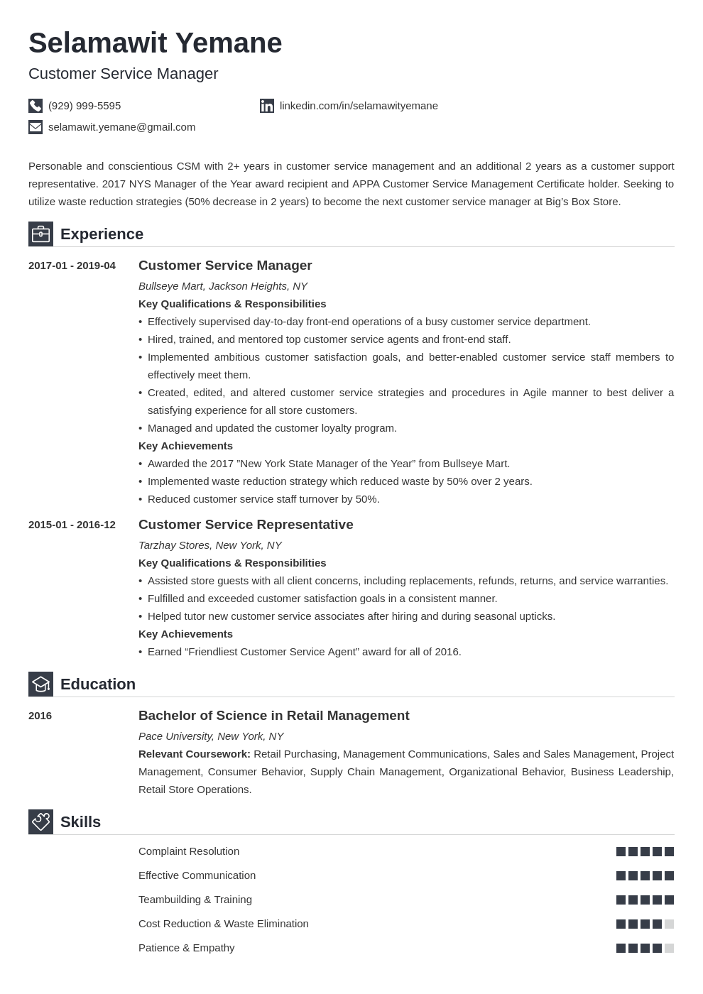 customer service manager resume example template iconic