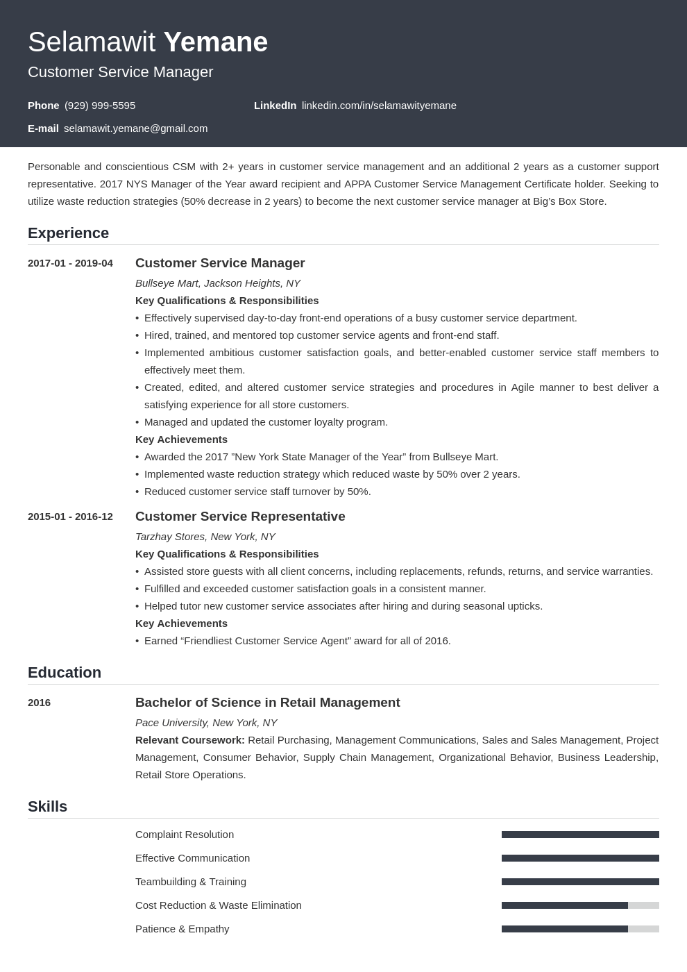 customer service manager resume example template influx