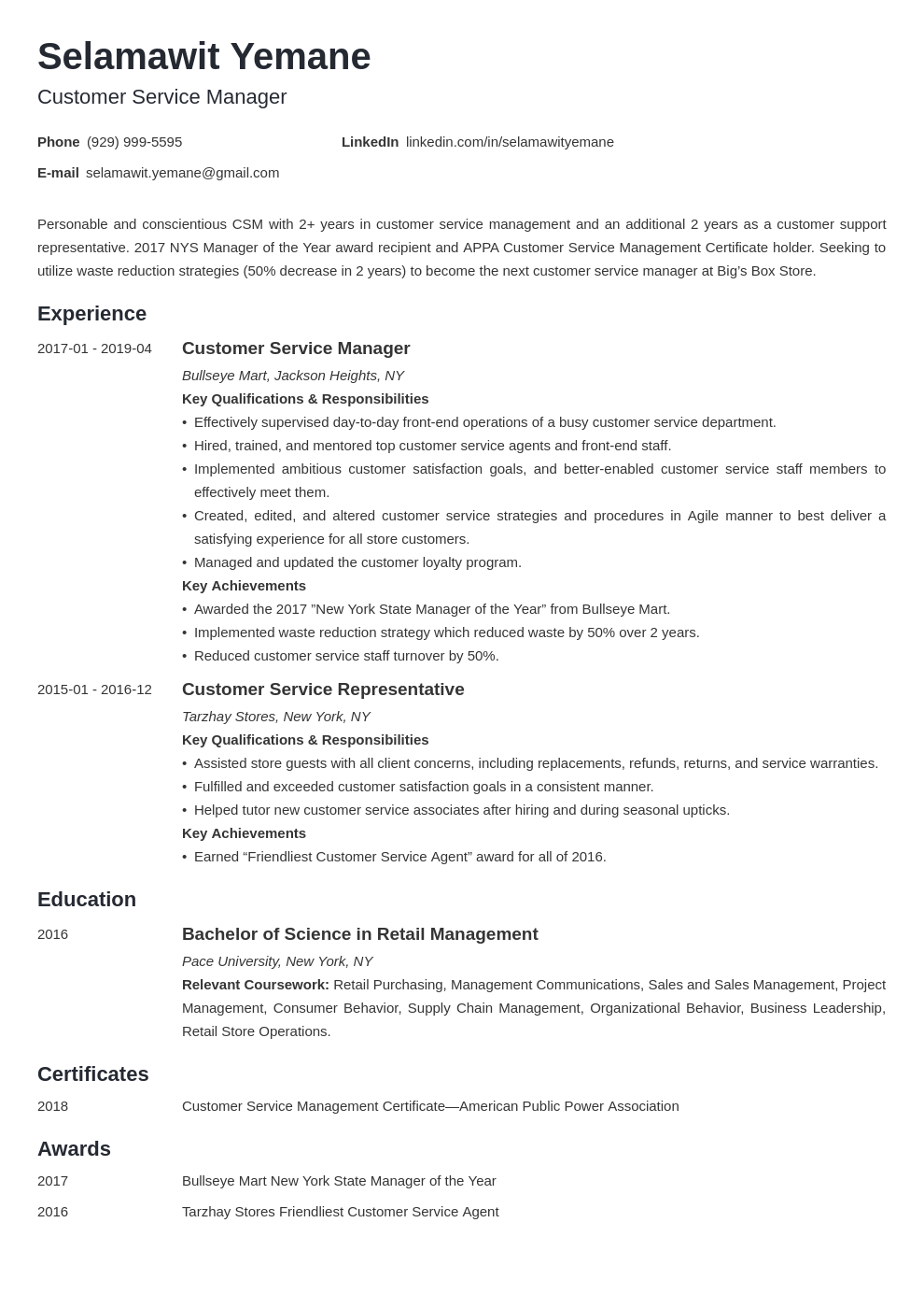 customer service manager resume example template minimo