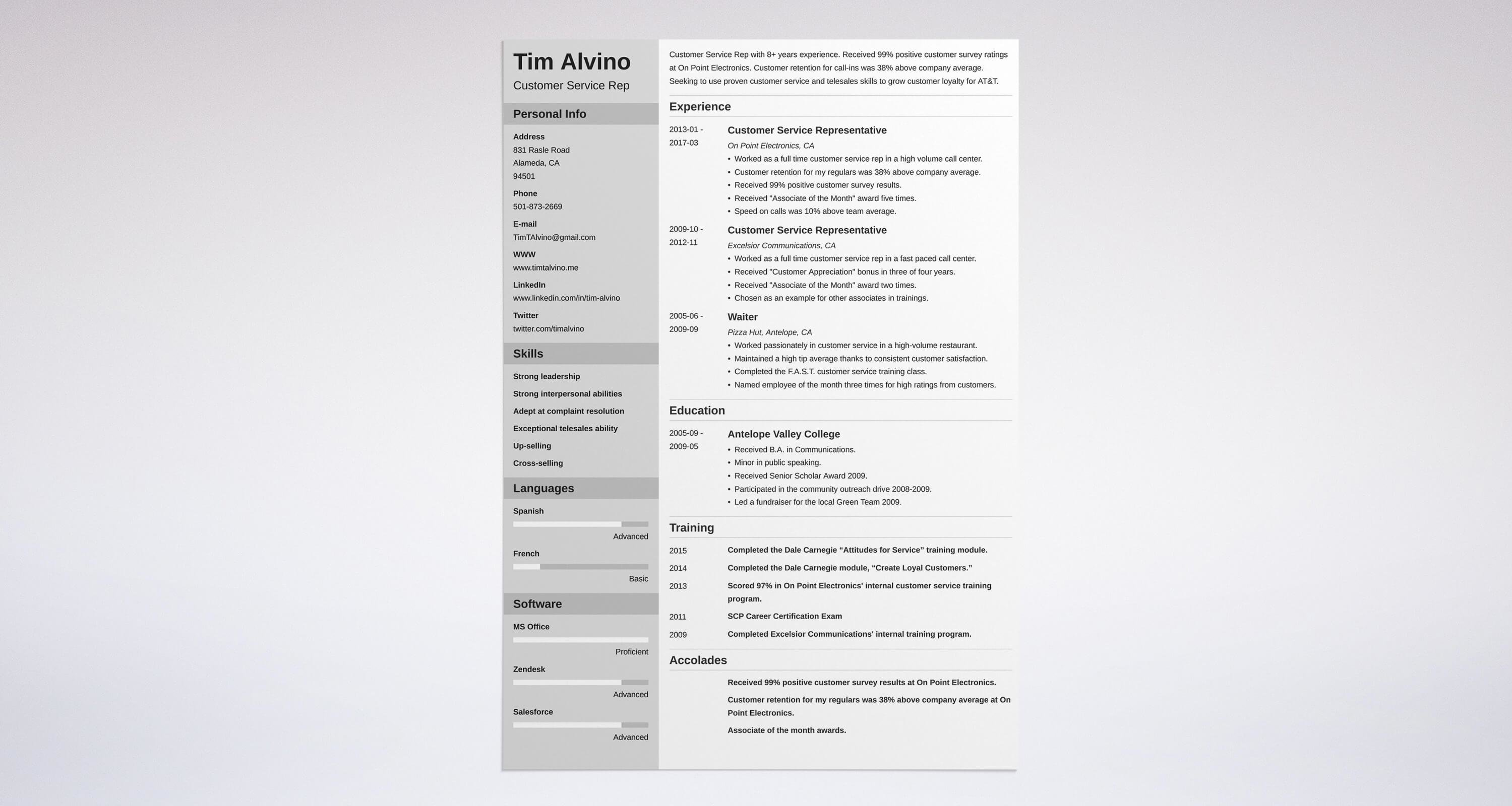 whats the best format for a customer service resume