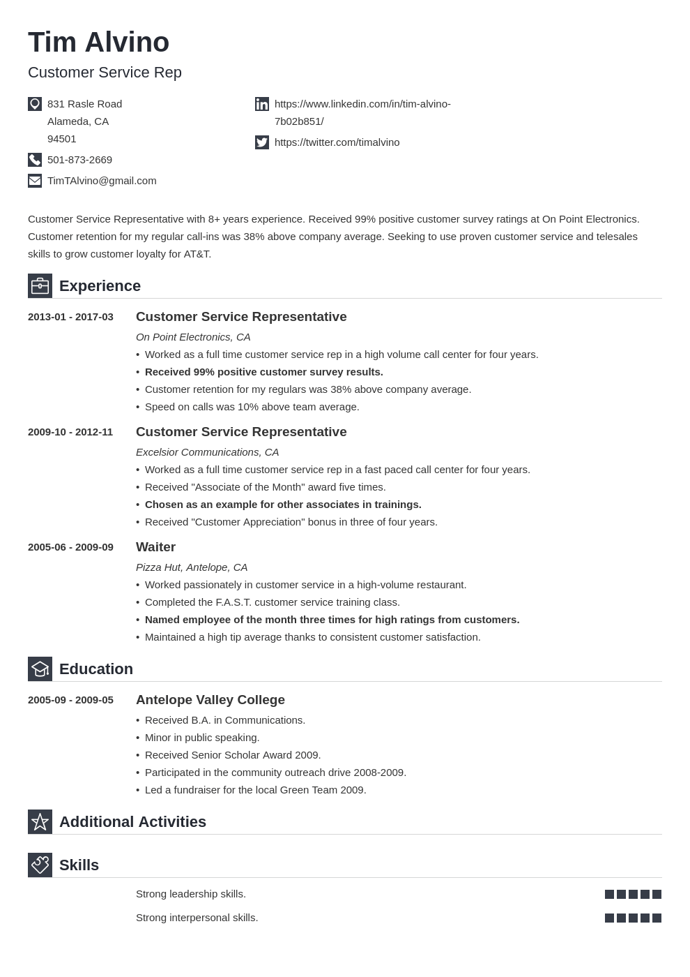Customer Service Representative Resume Template 49