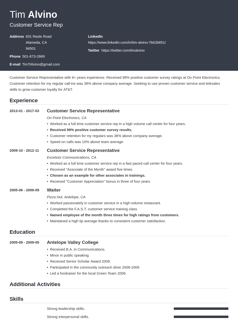 Customer Service Resume: Sample and Writing Guide [20+ Examples]