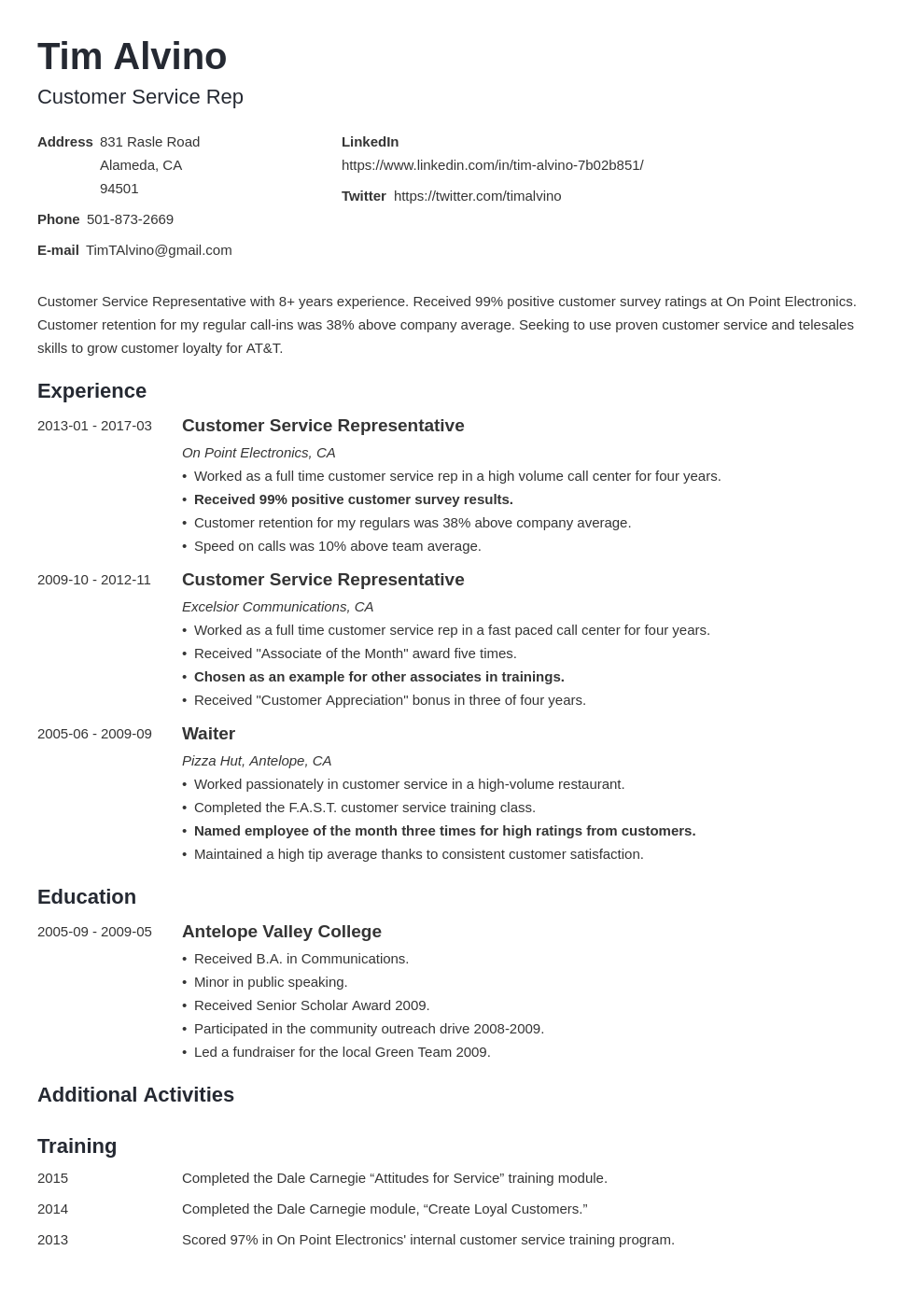 Customer Service Representative Resume Examples 2020