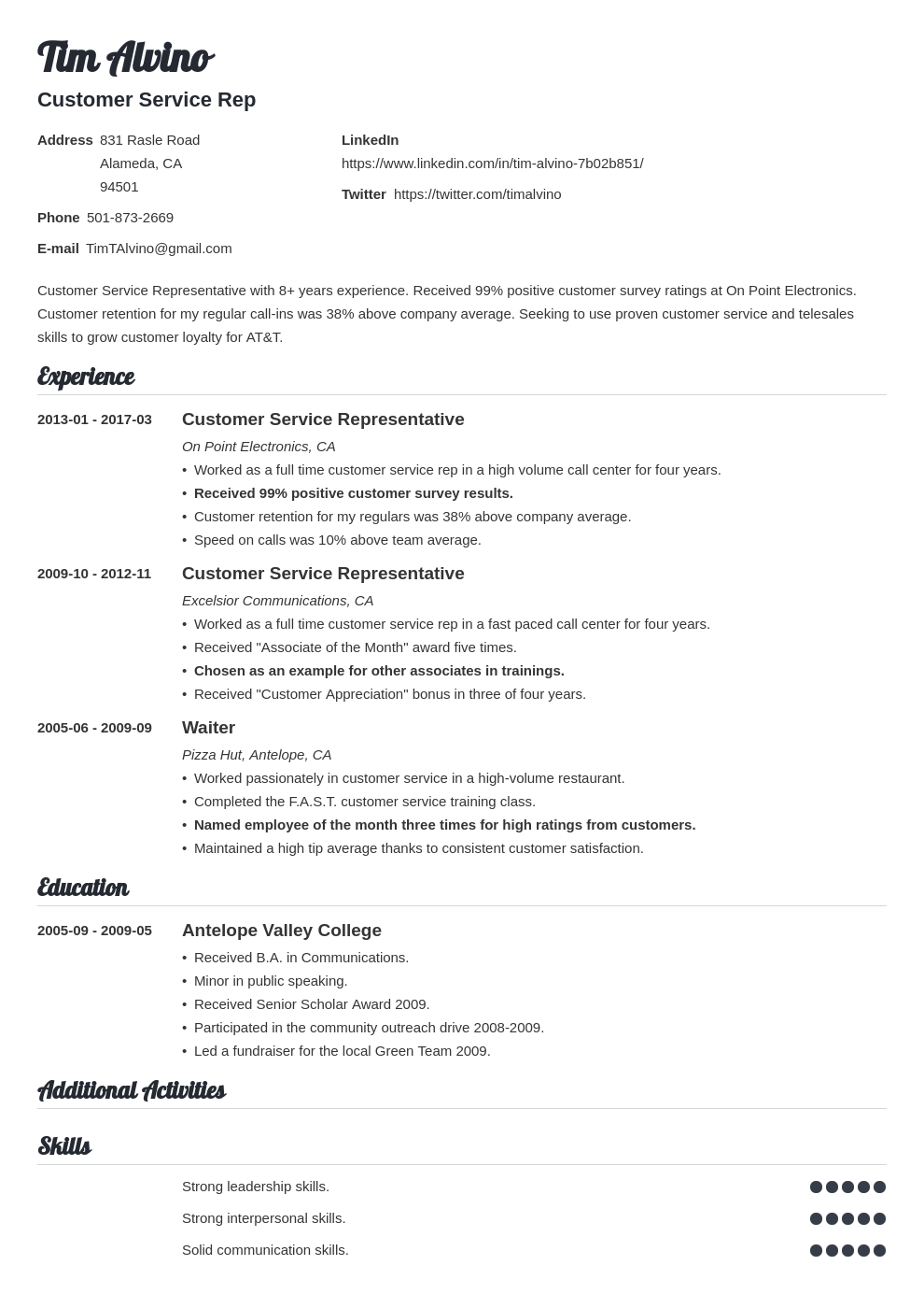 Customer Service Resume Sample And Writing Guide 20 Examples