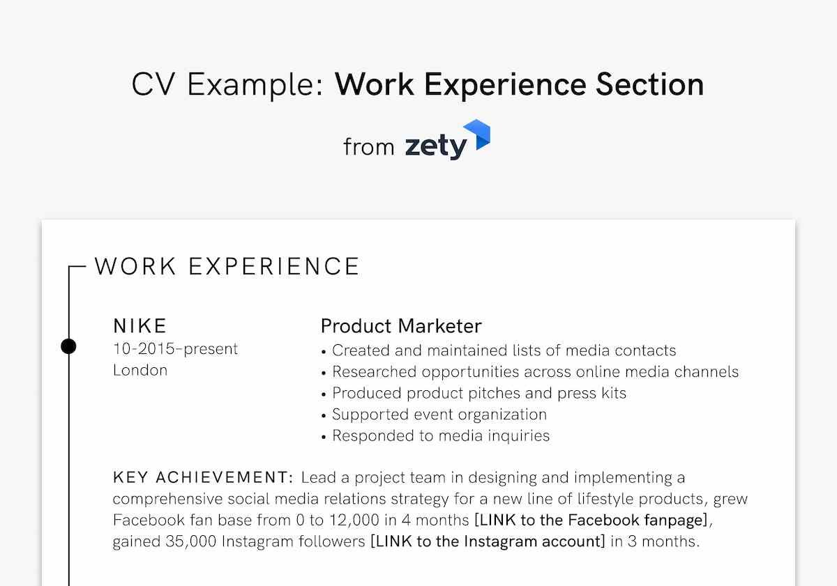 CV Example Work Experience Section