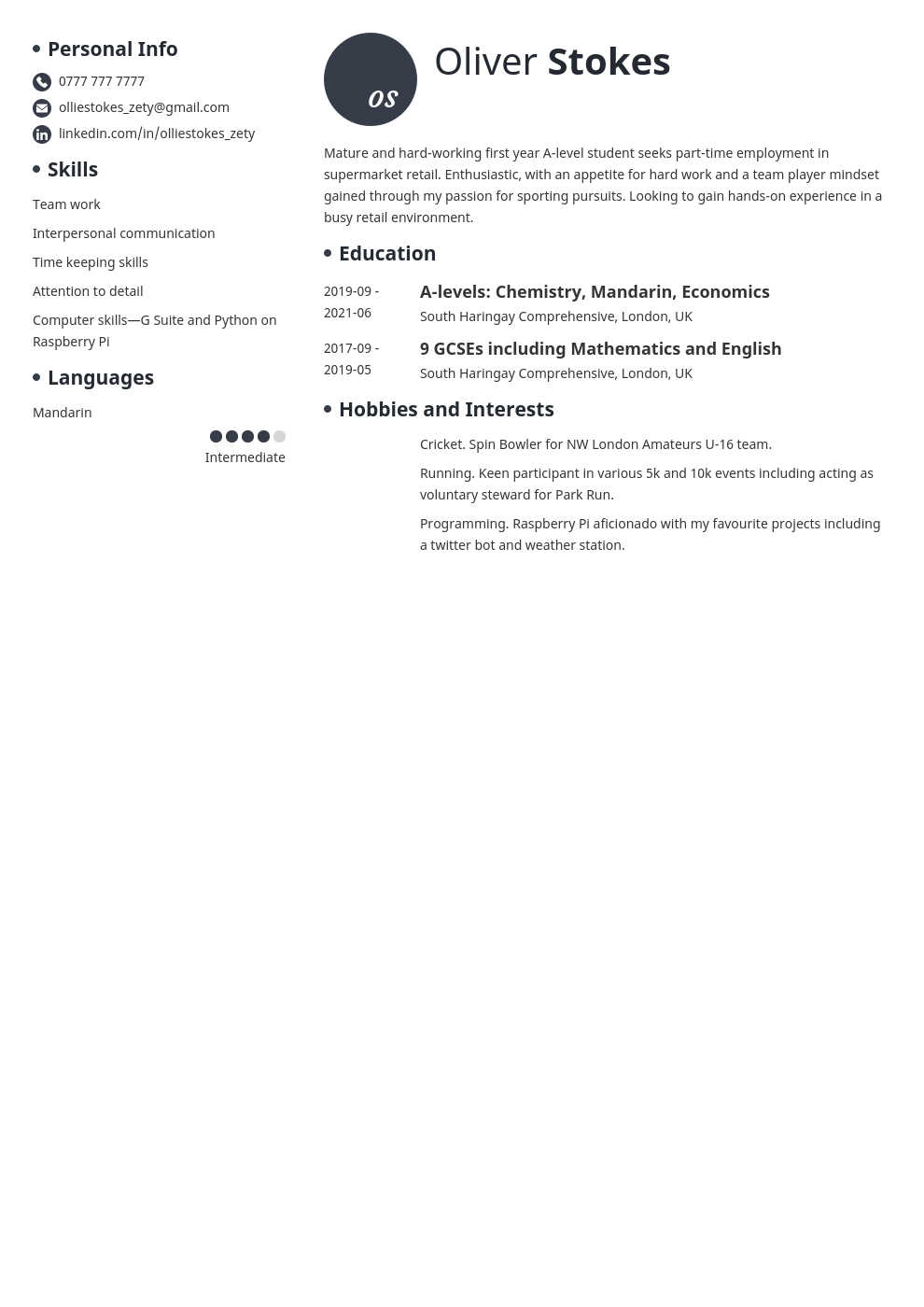 How To Write A Cv For A 16 Year Old Template For First Cv