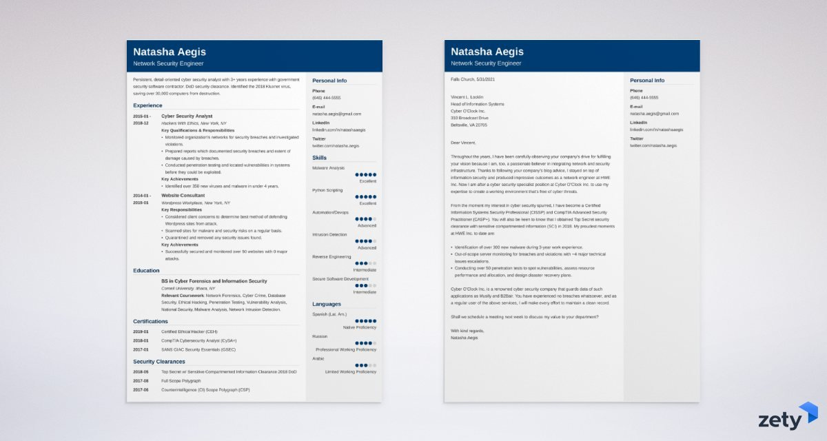 cybersecurity resume and cover letter set