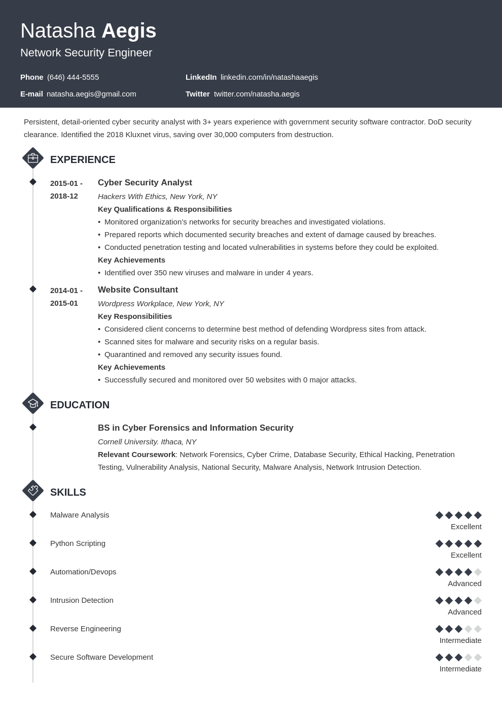 cyber security resume example template diamond