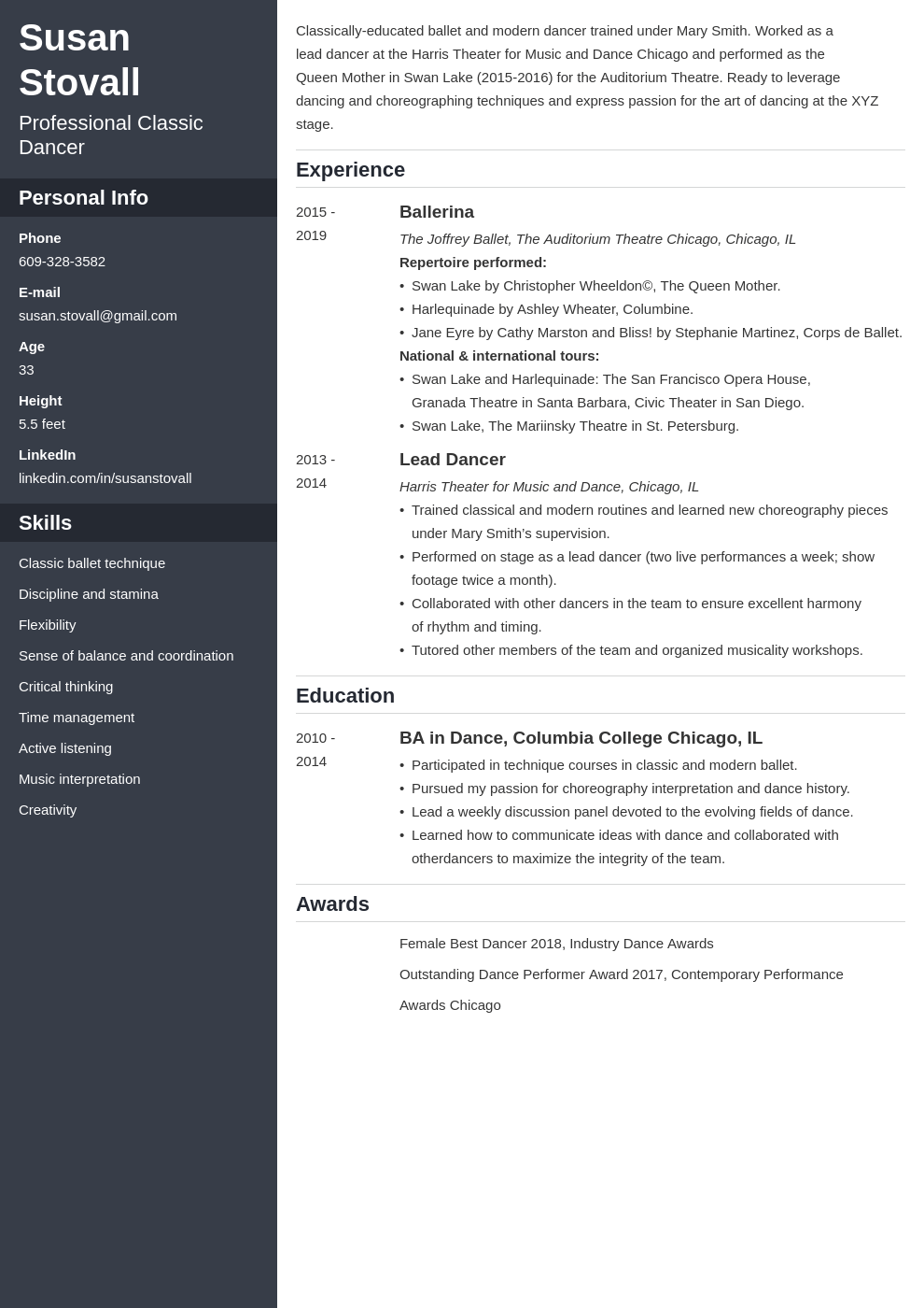 dance resume example template cascade