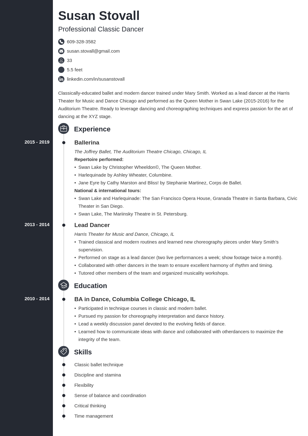 dance resume example template concept