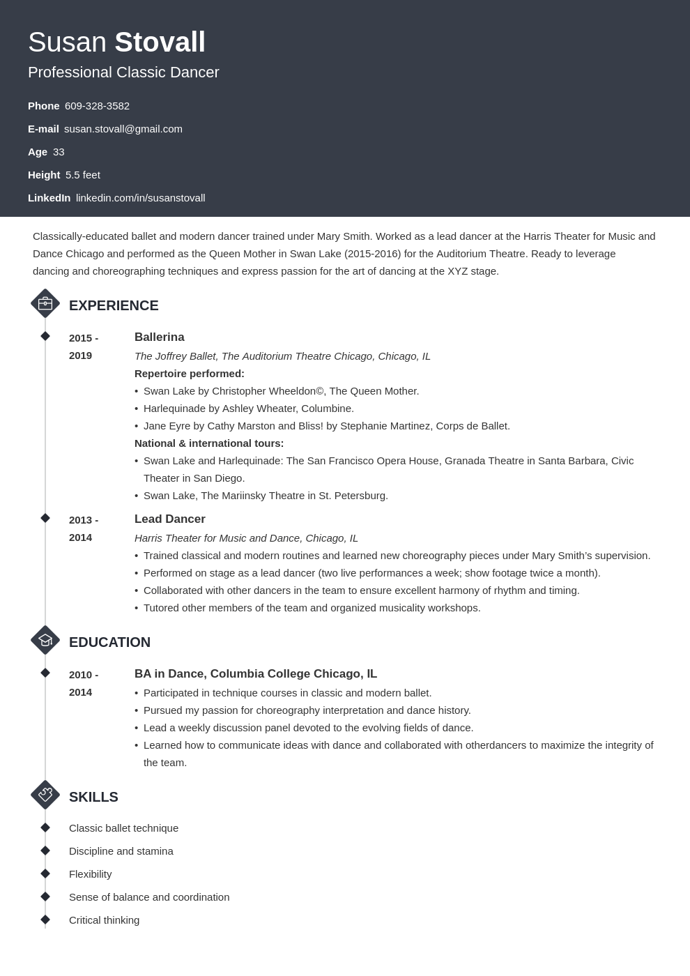 dance resume example template diamond
