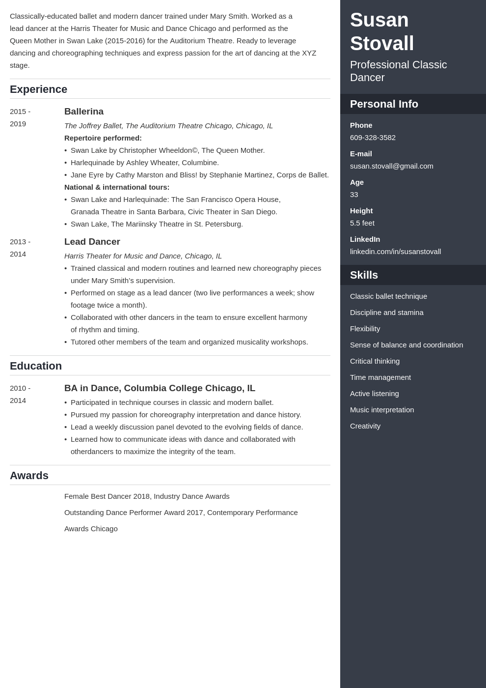 dance resume example template enfold