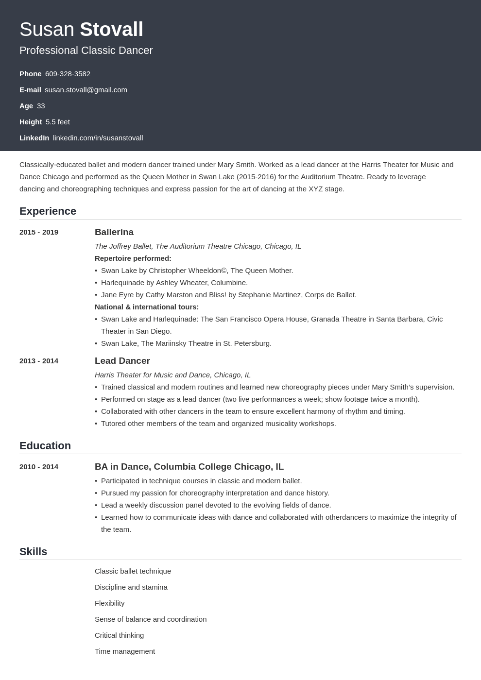 dance resume example template influx