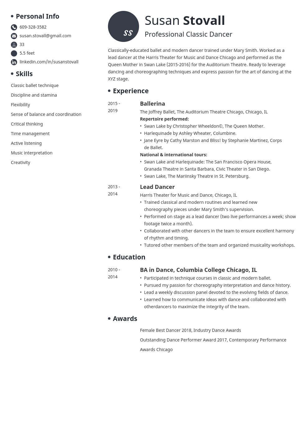 dance resume example template initials