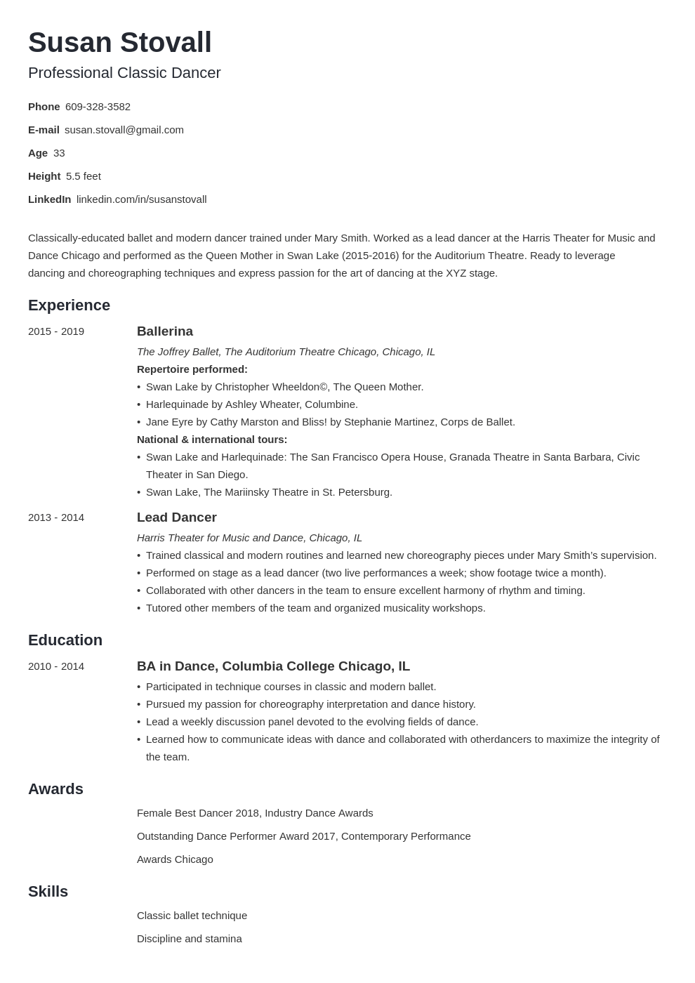 dance resume example template minimo
