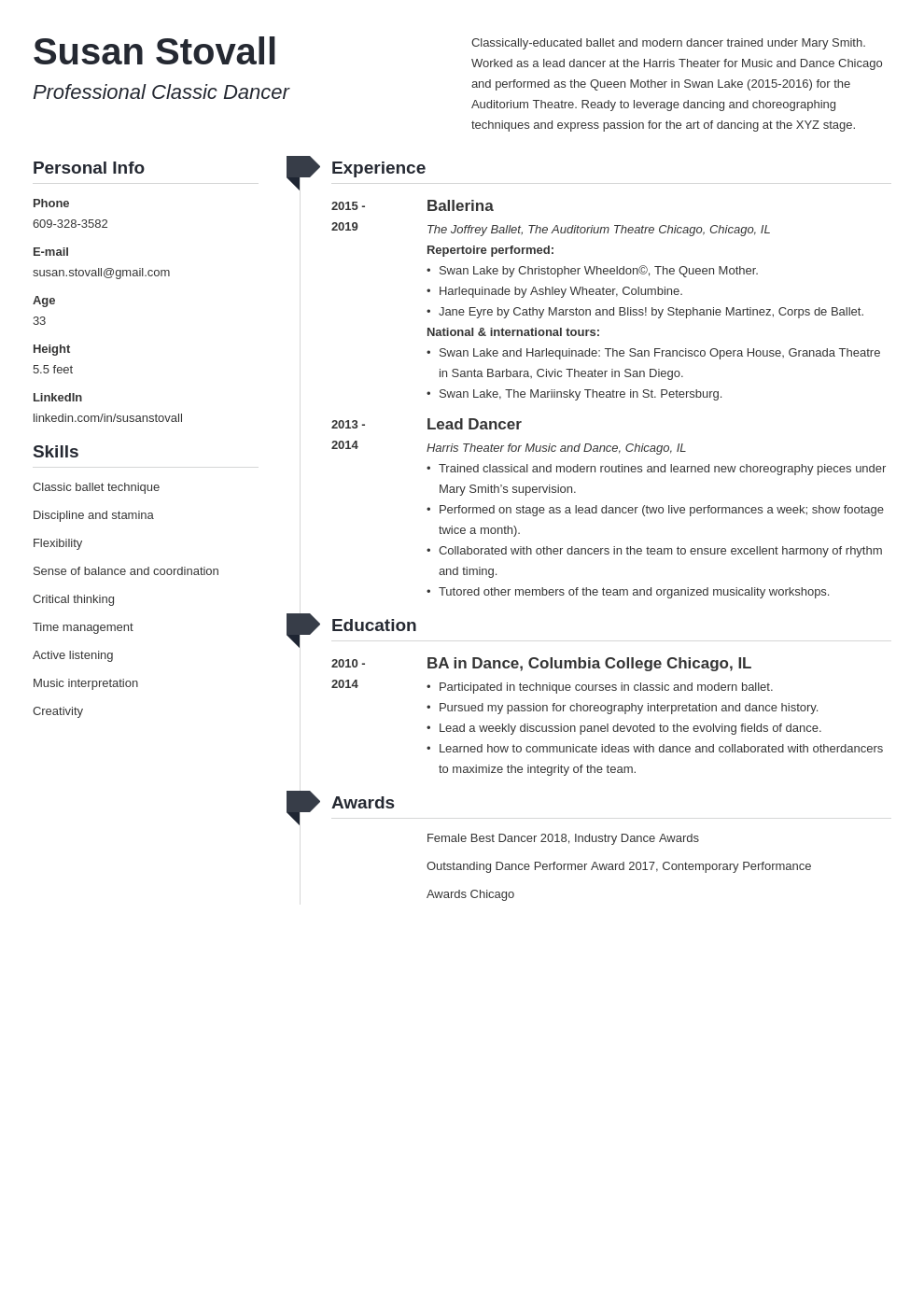 dance resume example template muse