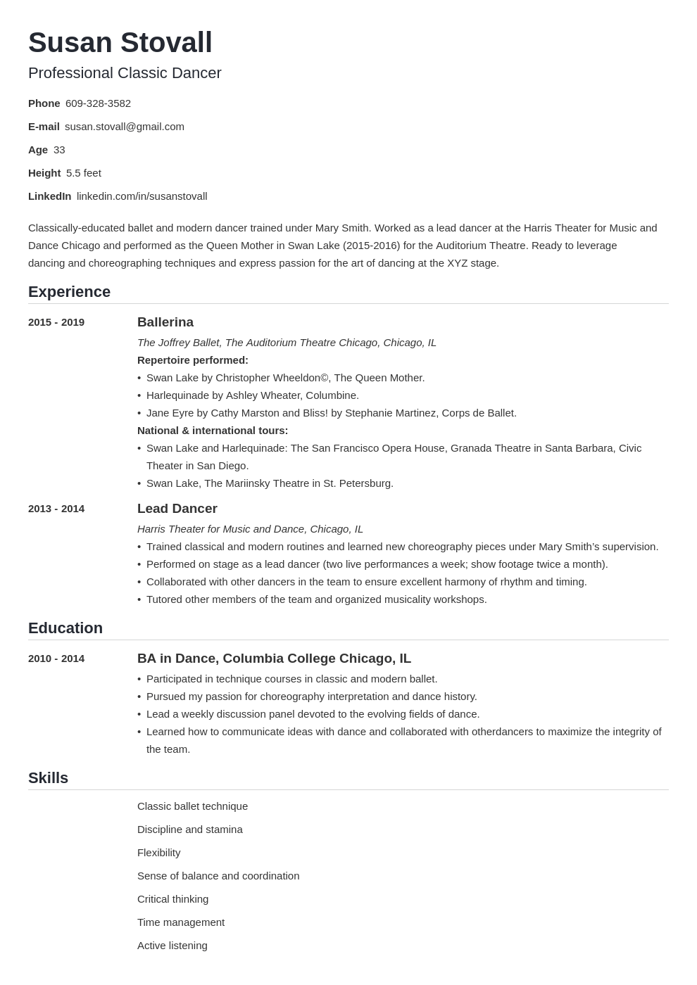 dance resume example template nanica