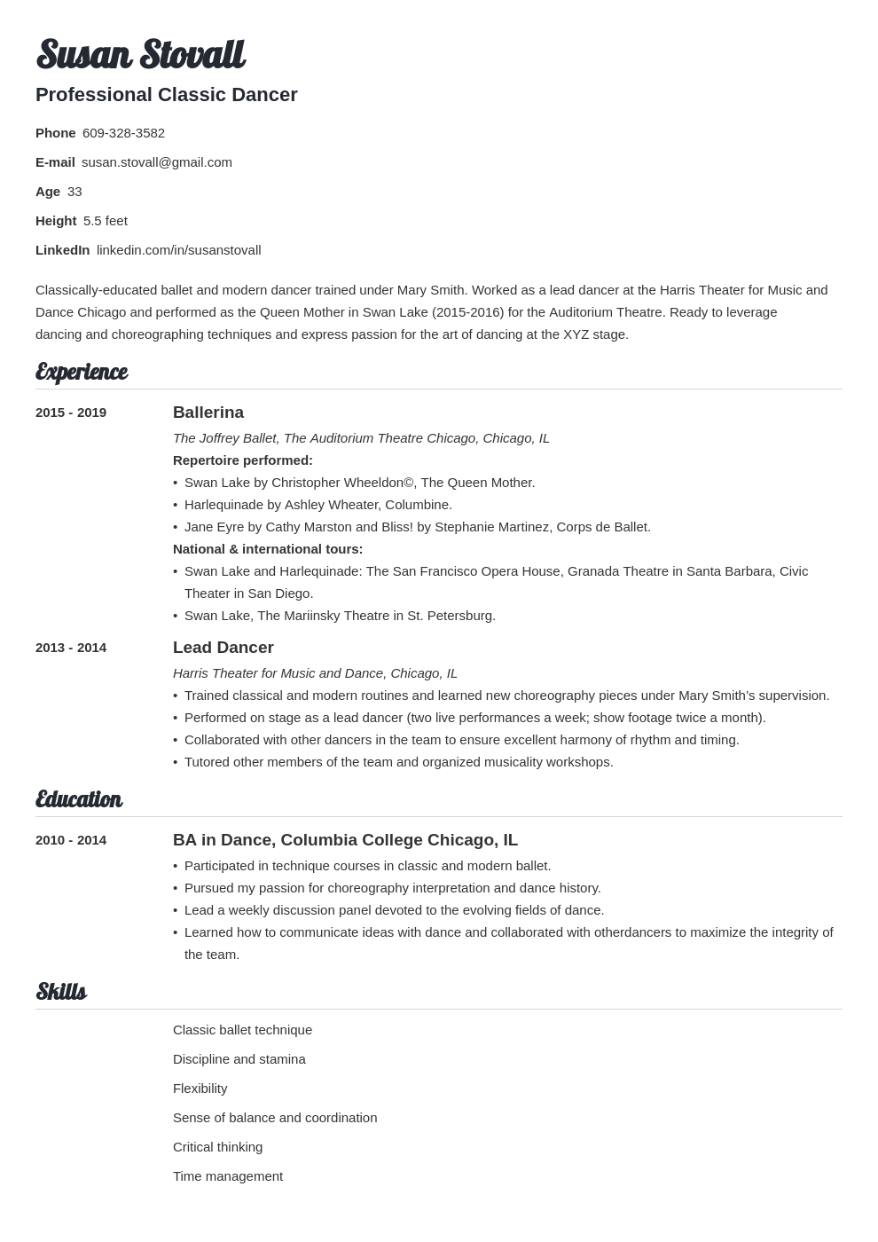 dance resume example template valera