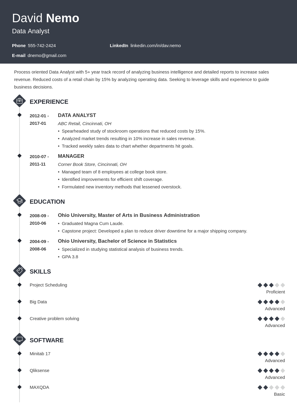 data analyst resume template diamond