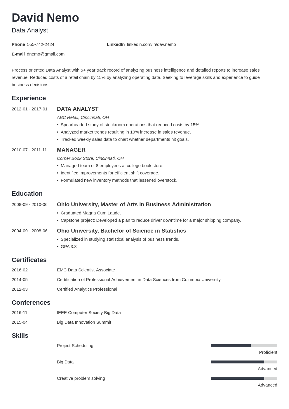 data analyst resume template minimo