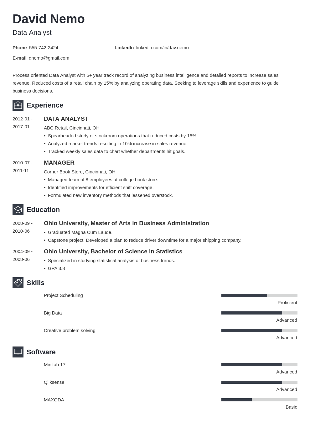 data analyst resume template newcast