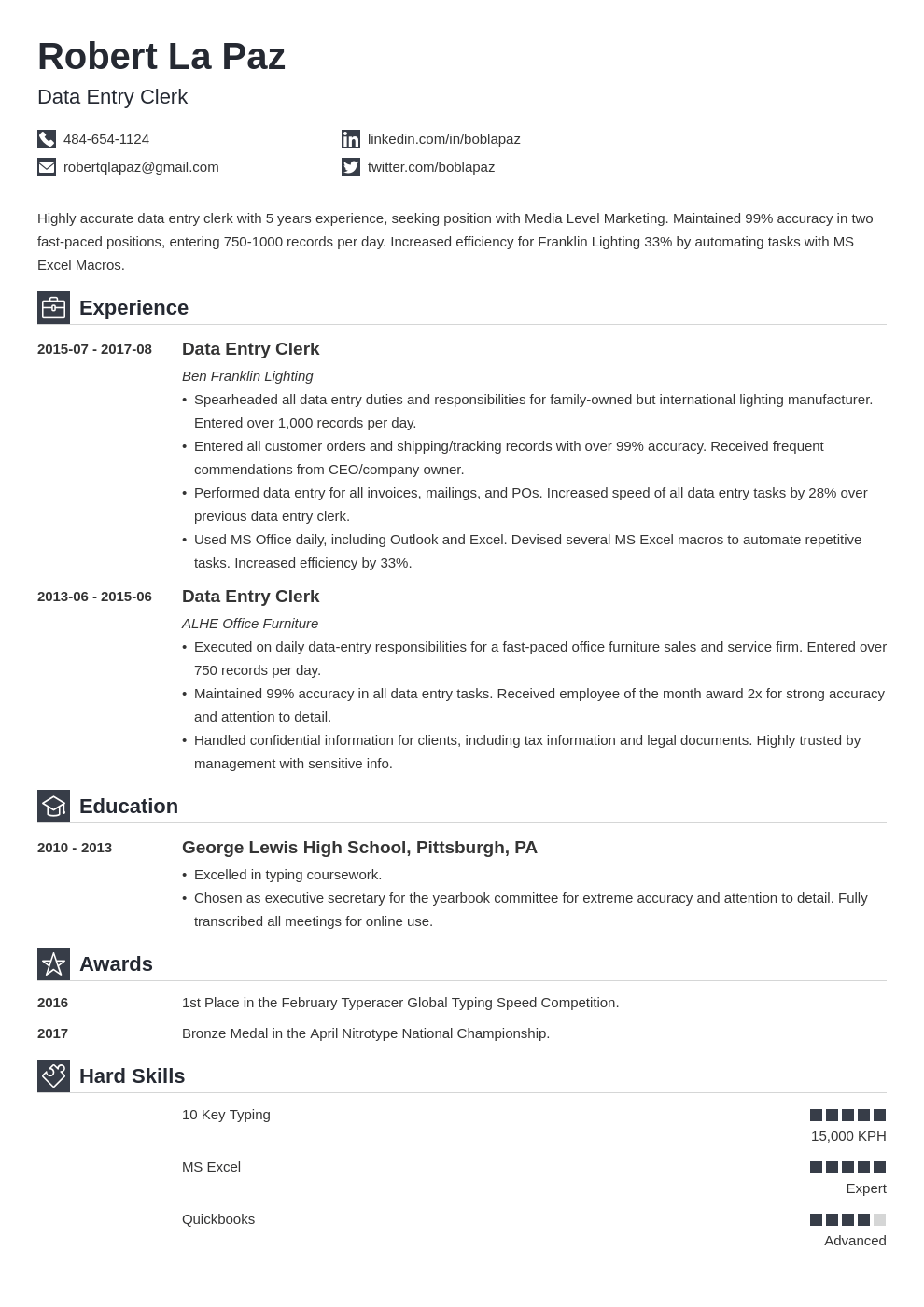 Data Entry Resume Sample 20 Tips On Experience Skills