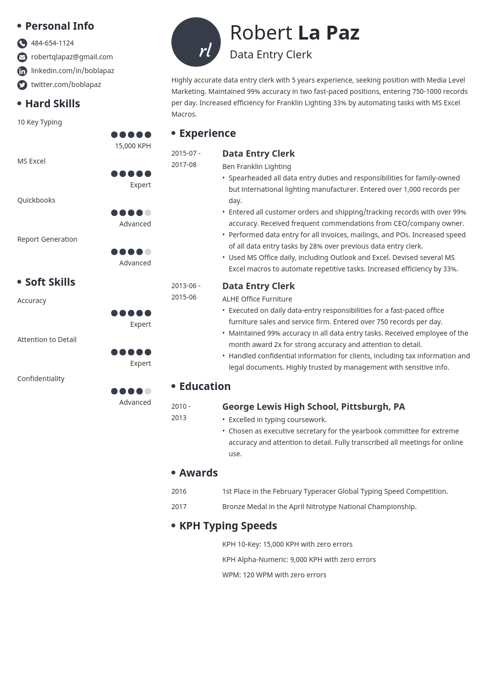 data entry resume example template initials