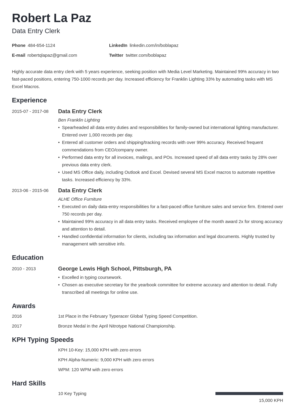data entry resume example template minimo