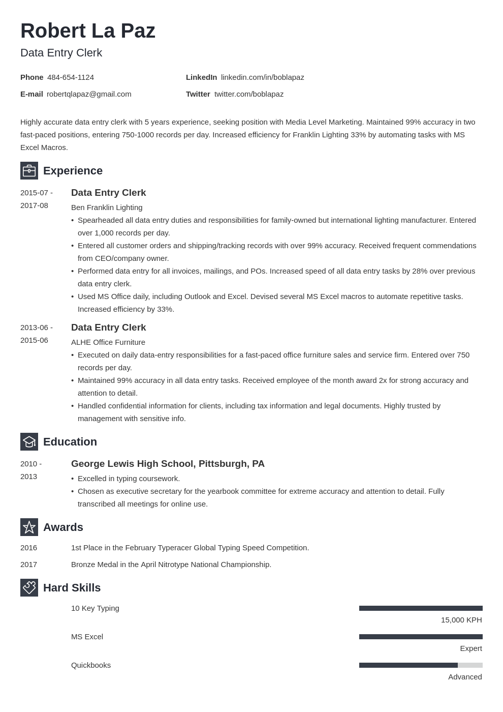 data entry resume example template newcast