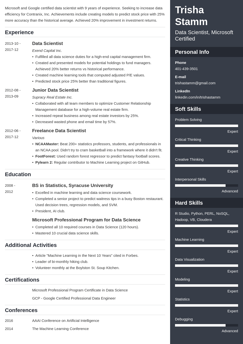 data scientist resume example template enfold