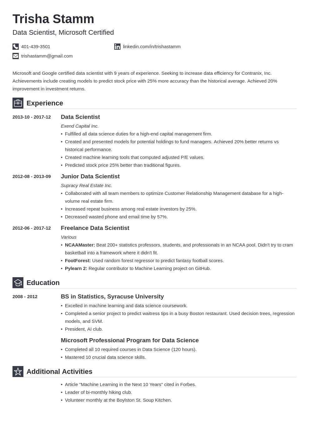 data scientist resume example template iconic