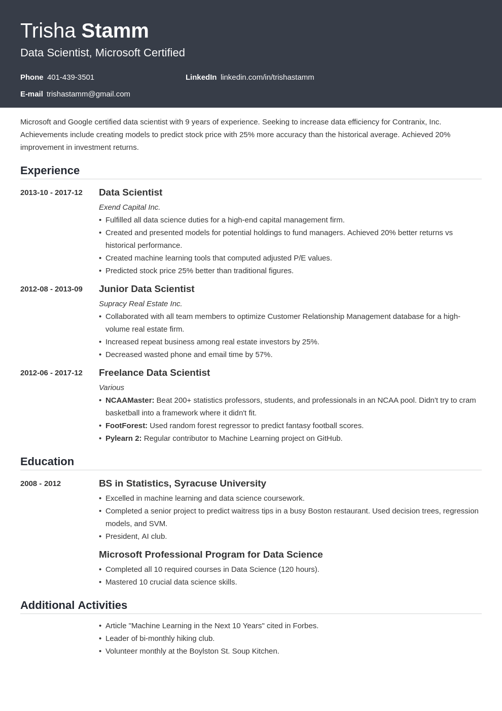data scientist resume example template influx
