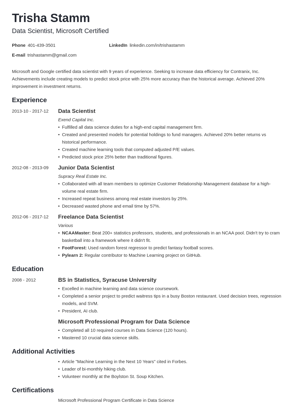 data scientist resume example template minimo