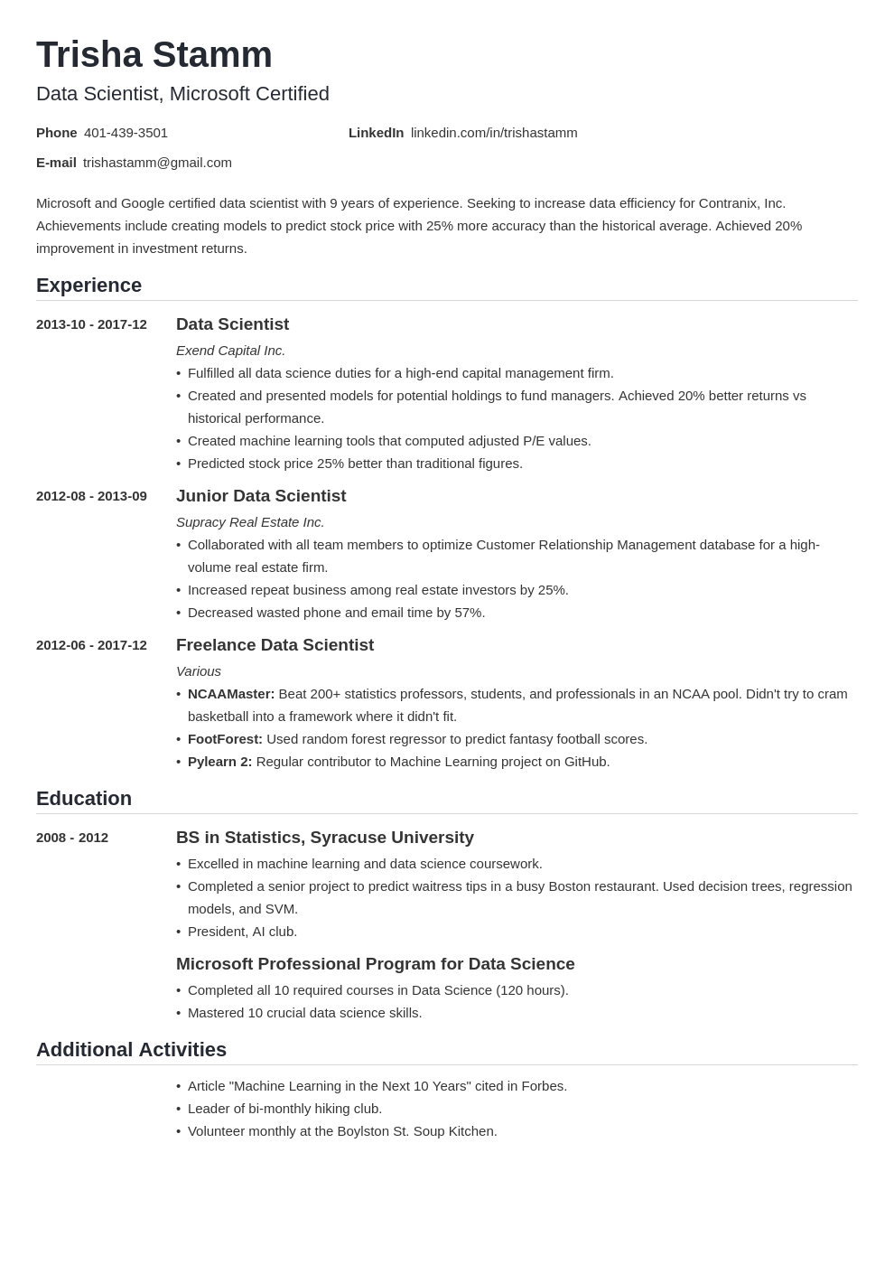 data scientist resume example template nanica